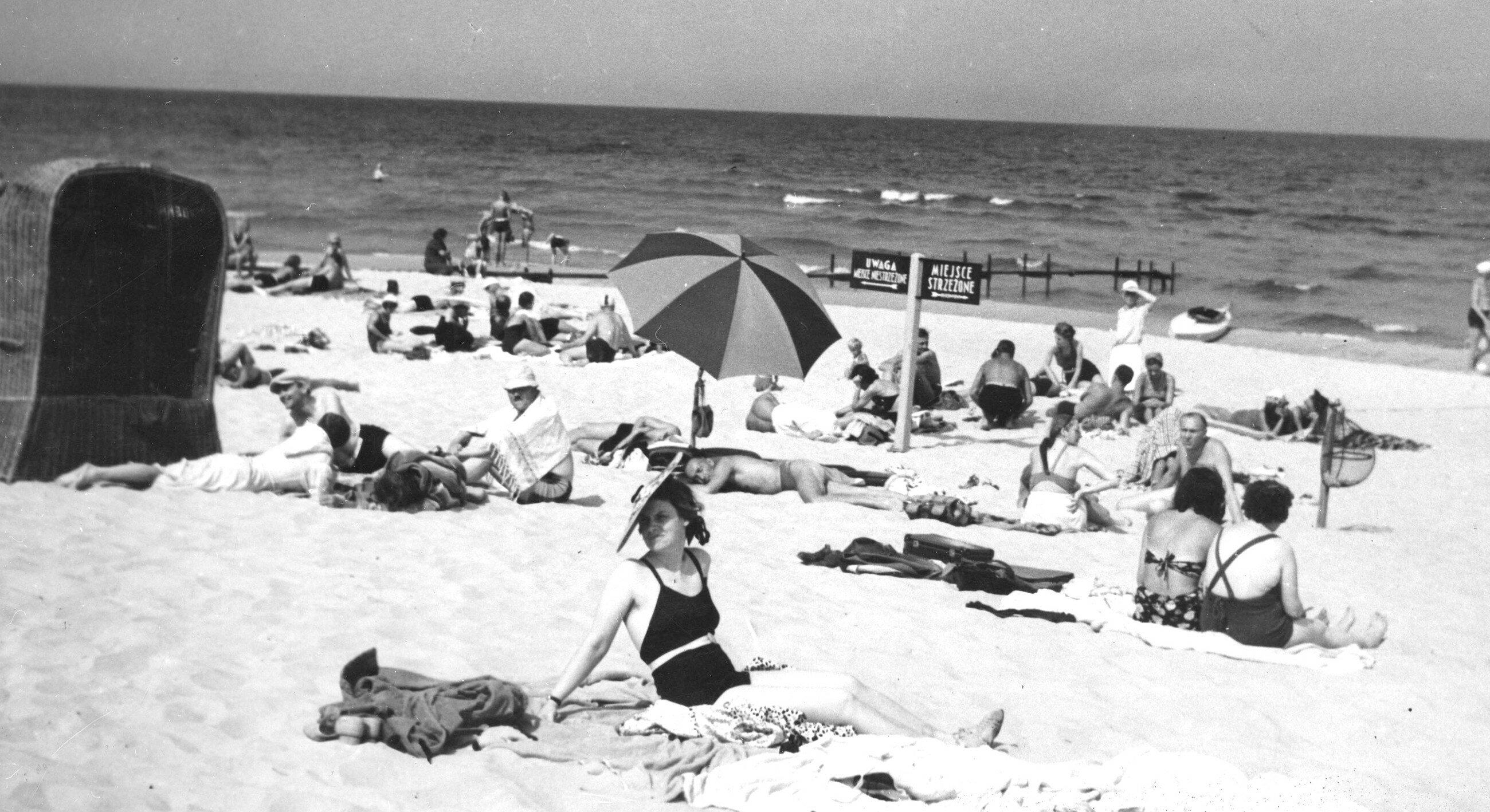 Jurata, 1938 r. Plaża w Juracie w sierpniu 1938 r.
