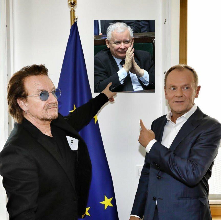 Memy ze spotkania Bono-Tusk